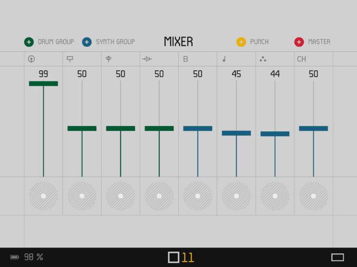 OP-Z iOS App INDEX Mixer
