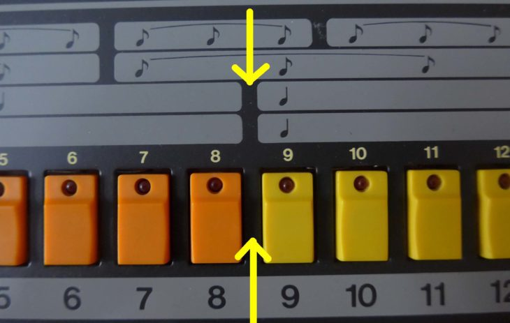 Die Position des scharzen Trennstrichs bei der TR-808