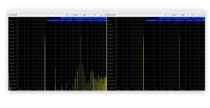 Tube-Tech CL1B Vergleich links Hardware, rechts Software - Intermodulation 1k, 10k -120dB FS