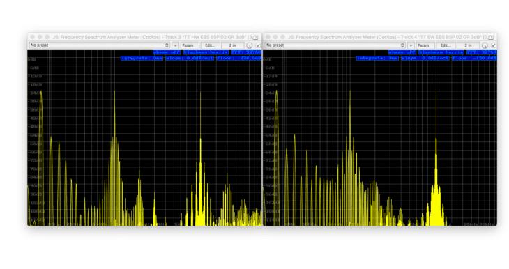 Tube-Tech CL1B Vergleich links Hardware, rechts Software - Intermodulation 50, 1k, 10k -120dB FS, att+rel 9uhr