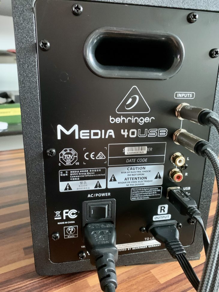 Behringer_Media 40USB_back test