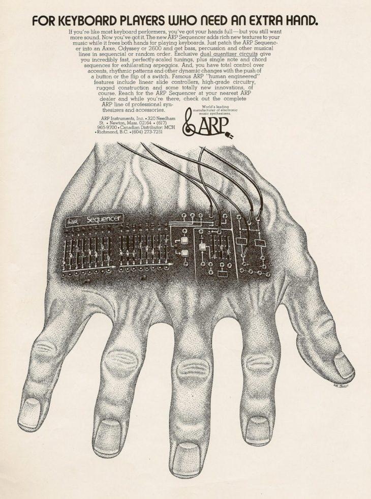 Eine Anzeige von ARP für den Sequenzer 1601