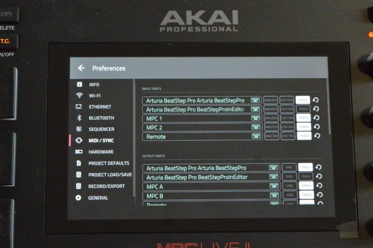 Jedes angeschlossene Gerät wird hier aufgelistet. Es lassen sich auch USB-MIDI-Interfaces anschließen, um die MIDI-Ports zu erweitern.