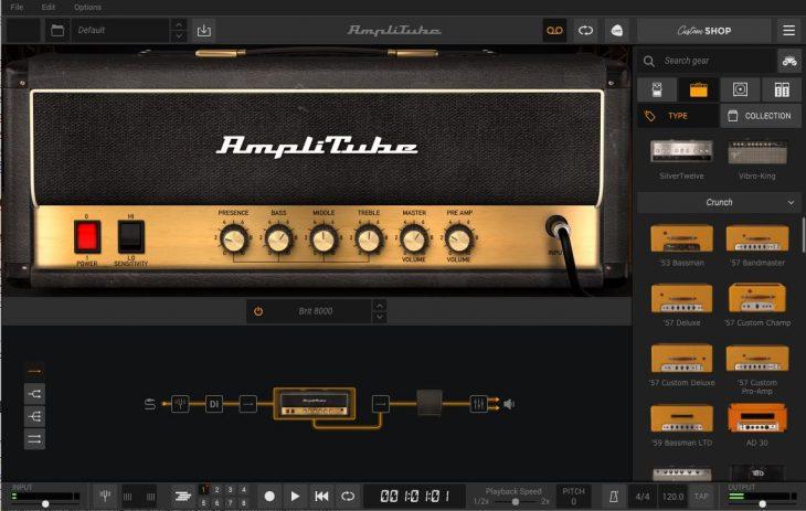 Amplitube 5 Startbildschirm