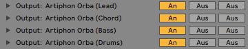 Artiphon ORBA - MIDI outputs