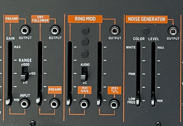Der Frontplattenbereich für External-In, Ringmodulator und Rauschen