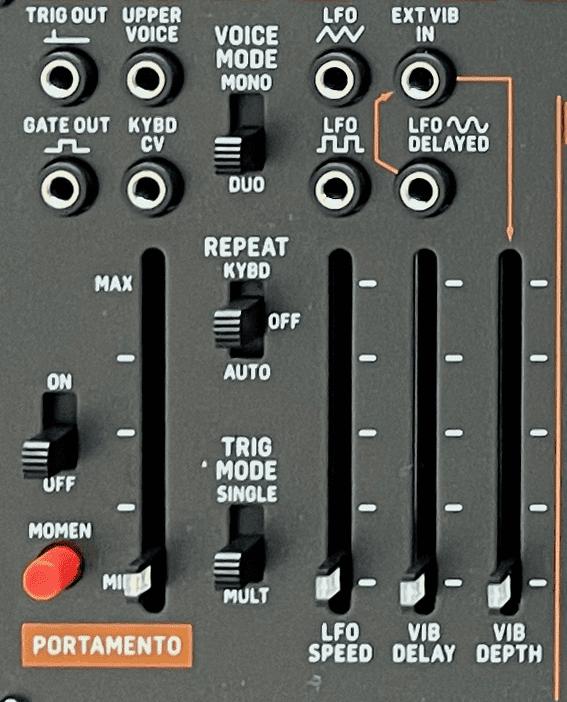 Der Frontplattenbereich für Keyboard und LFO