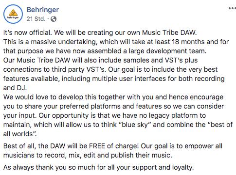 behringer music tribe daw