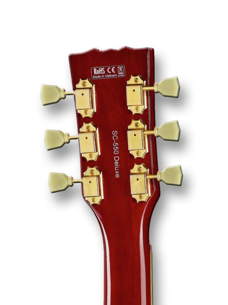 Harley Benton SC-550 Black Cherry Flame E-Gitarre Wilkinson Tuner