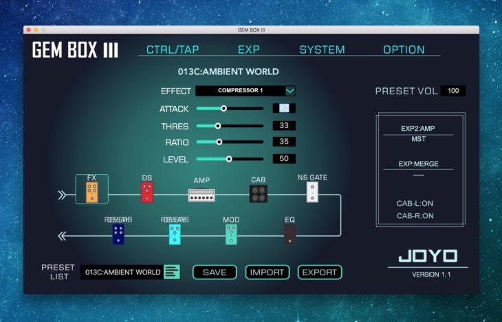 Joyo GEM BOX III Multieffektgerät Studio Software