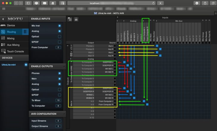 Verknüpfungsmatrix im Audio-Interface