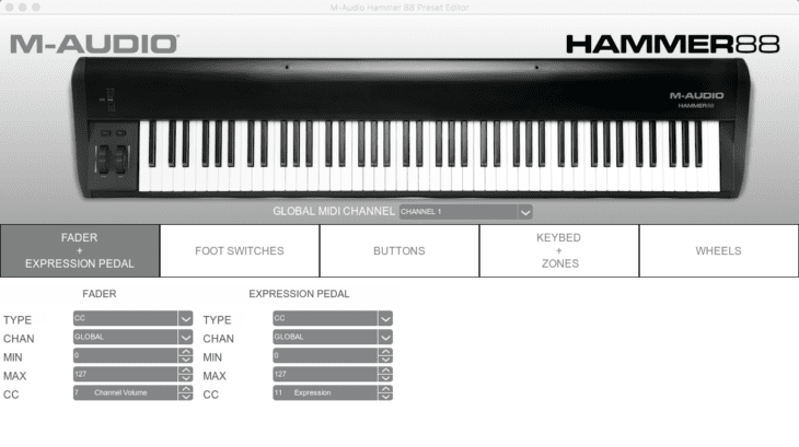m audio hammer 88 editor test