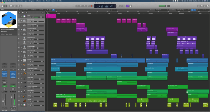 Screenshot Logic Pro X Demosong
