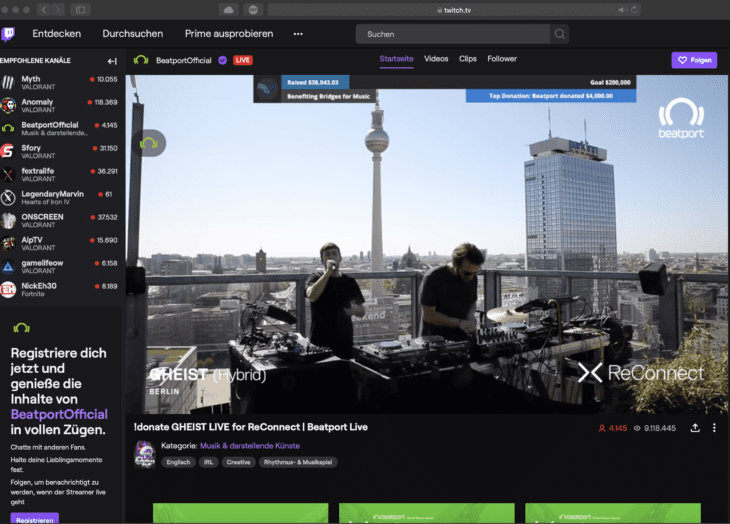 Streaming via Twitch hier mit Gheist via Beatport ReConnect