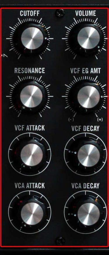 typische 24dB Moogfilter und ein VCA modellieren das Summensignal