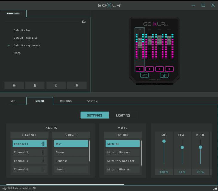 TC Helicon GO XLR MINI App Lighting