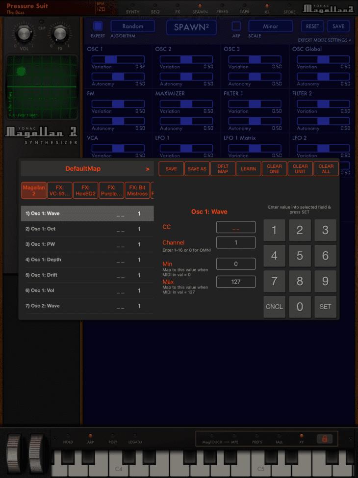 Yonac Magellan 2 MIDI-Map