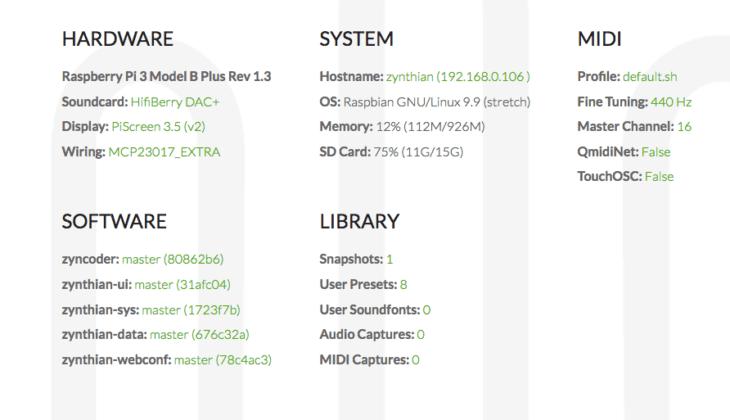 Zynthian Open Sound Plattform - Hardwareuebersicht