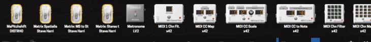 MOD-GUI verschiedene MIDI-Effekte und Sequenzer