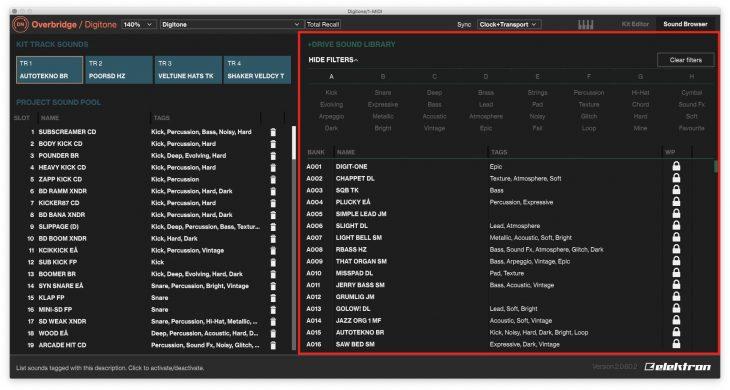 Sektion Browser Library mit Filter
