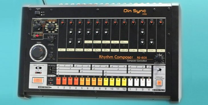 din sync re-808 drum machine tr-808 replica