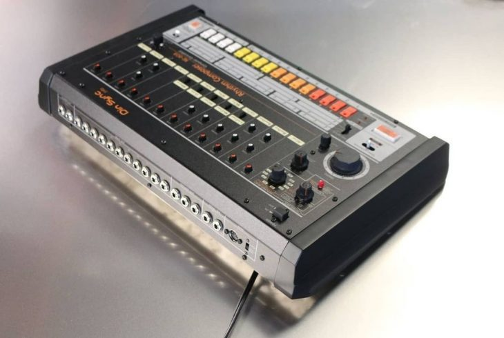 din sync re-808 drum machine tr-808 replica rear