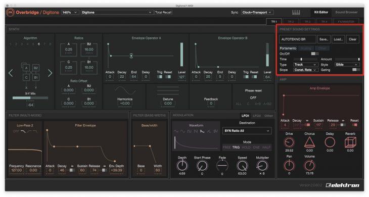 Elektron Overbridge 2.0 - Sektion Synth Voice Preset Sound settings