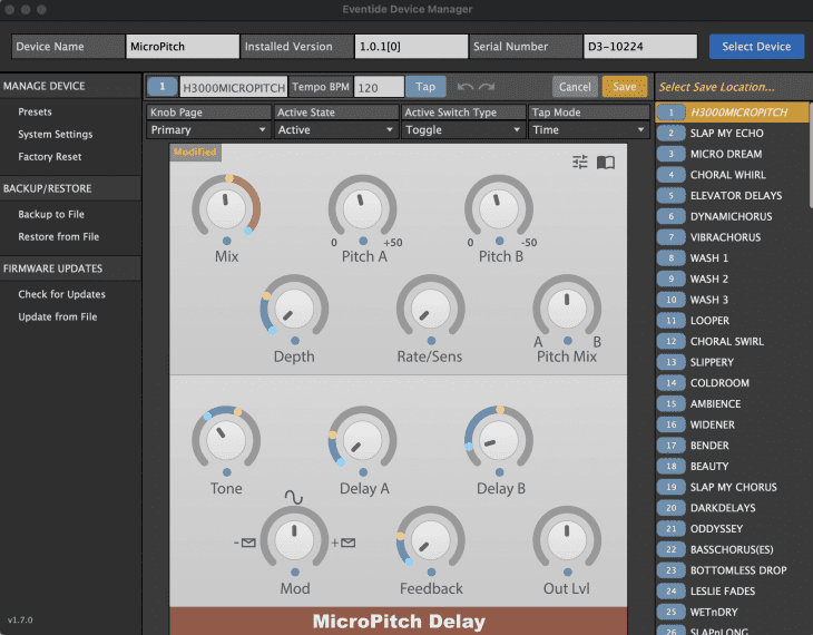 Eventide MicroPitch Delay Editor