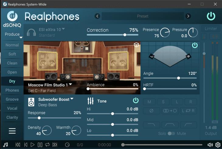 Screenshot dSONIQ Realphones 1.7