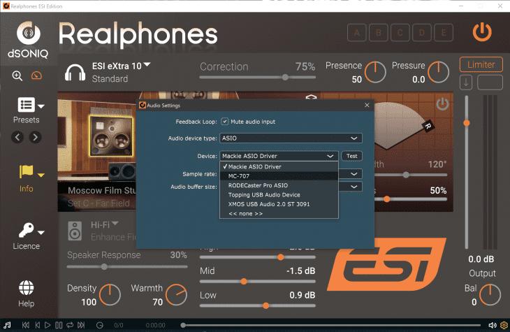Screenshot dSONIQ Realphones ESI Edition