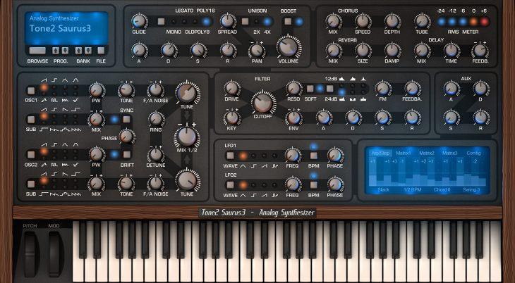 tone2 saurus 3 synthesizer plugin gui