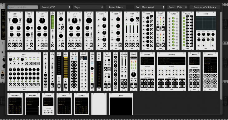 vcv rack 2 modular synthesizer browser