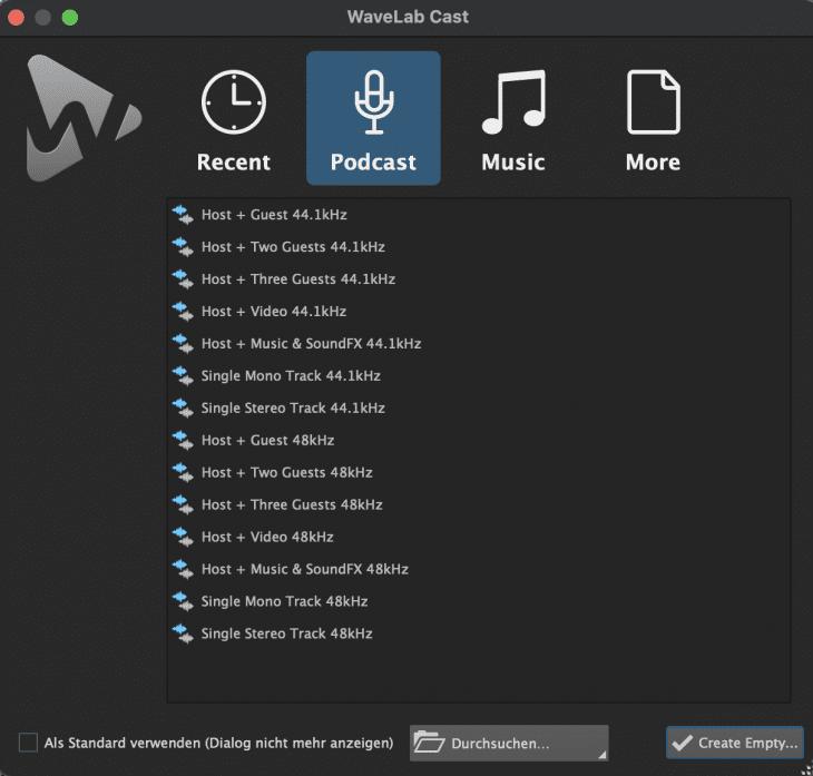 WaveLab Cast Startbildschirm