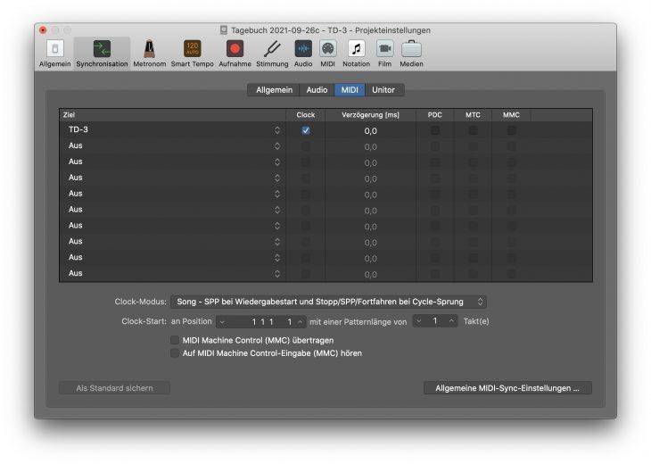 TD-3 als Empfänger der Clock aus Logic Pro