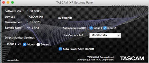 iXR Settings Panel am Mac