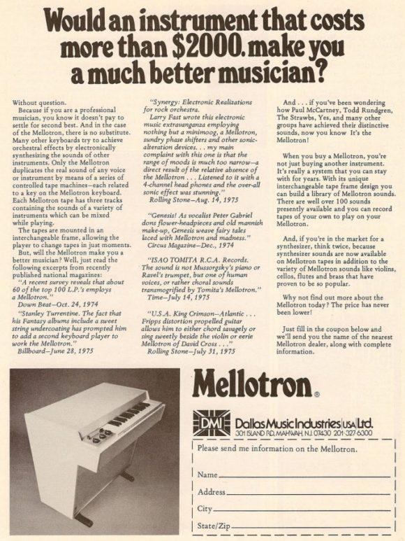 Mellotron Werbung 70er Jahre