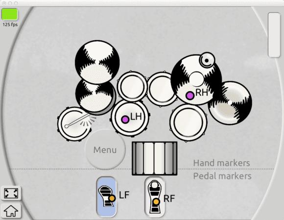 Die Software Ansicht während des Trommelns