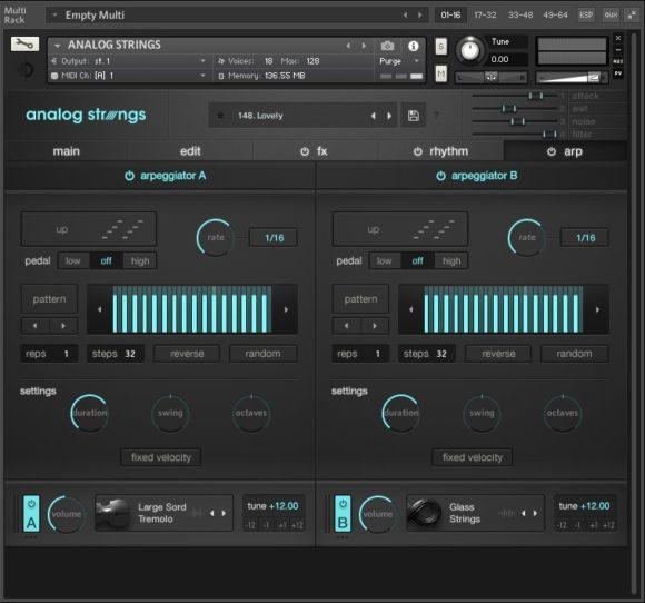 Output Analog Strings - Arpeggiator Fenster