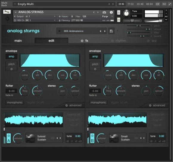 Output Anlog Strings - Edit Fenster