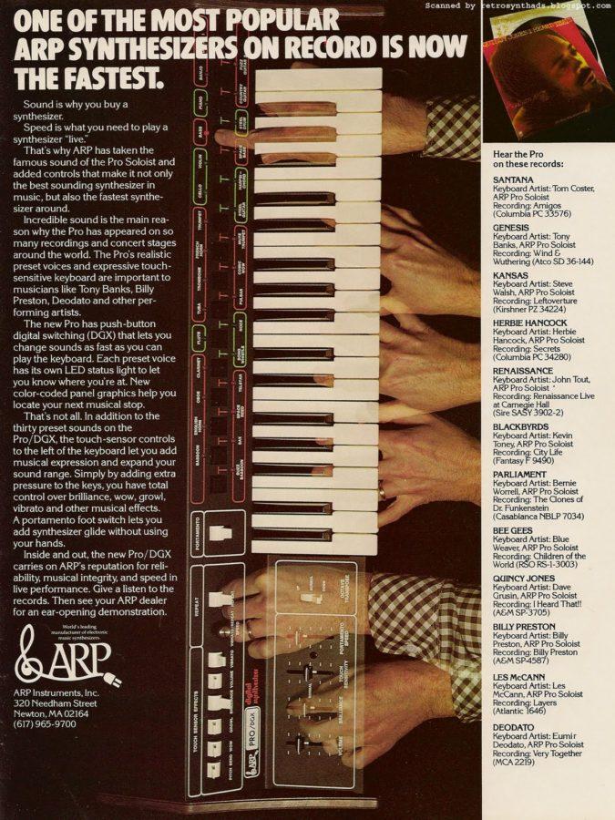Stolz listet diese ARP-Anzeige für den Pro/DGX verschiedene Platten auf, bei denen der ARP zu hören ist. (Mit freundlicher Genehmigung von Retrosynthads)