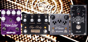 Vergleichstest Tape Delay Echos: Strymon El Capistan, Wampler Faux Tape Echo, Empress Tape Delay und Dunlop Echoplex EP 103