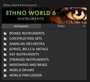 Ethno World 6 Instruments Kategorien