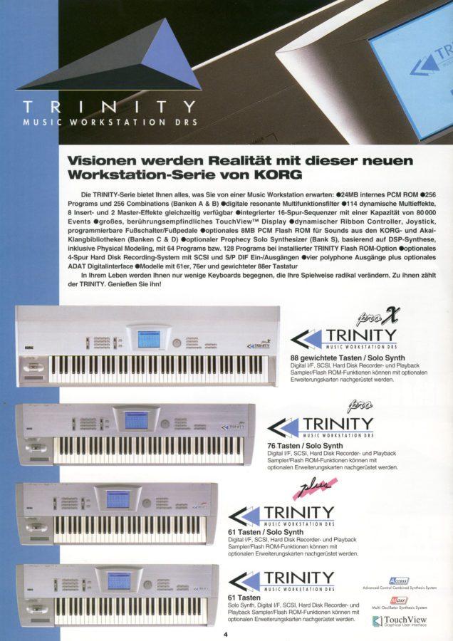Korg Trinity Serie Katalogseite 1