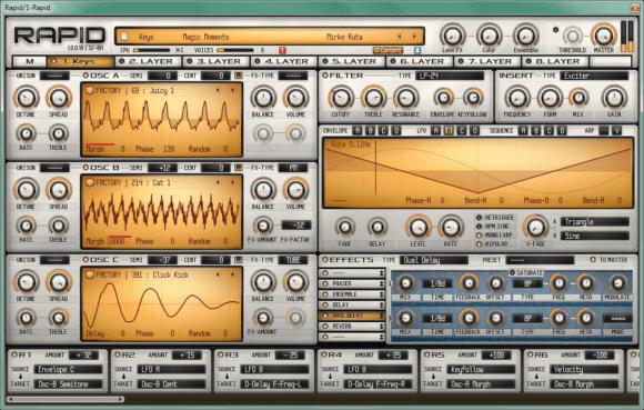 Rapid von Parawave Audiodesigns bietet acht Synthese-Layer.
