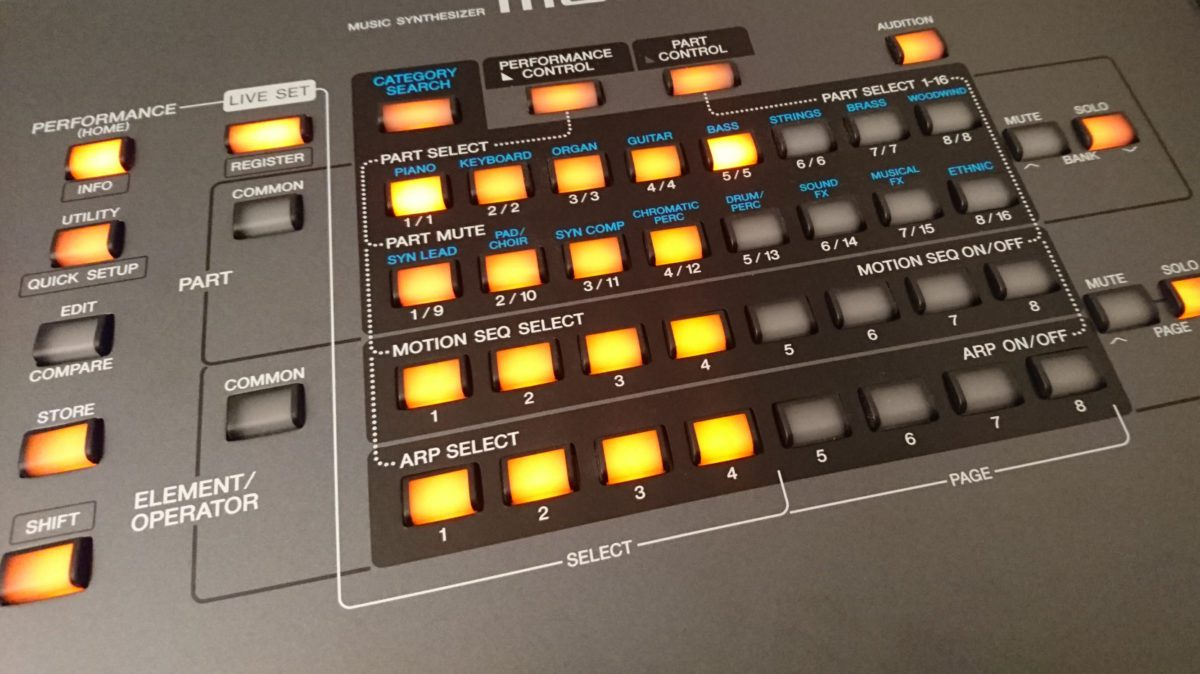 Yamaha Montage Performance Part und Mute Select