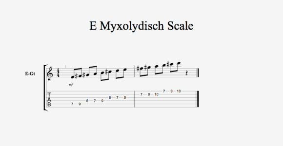 E Myxolydisch Scale